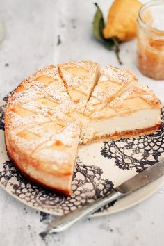 italian ricotta cheesecake with lemon marmalade.
