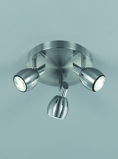 SPOT9003 Tivoli 3 Light Spotlight Plate In Satin Nickel Chrome Supplied With 5w LED Lamps