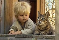 a cat and a child at the window