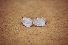 Raw Rose Quartz Stud Earrings Sterling Silver by NestofReveries