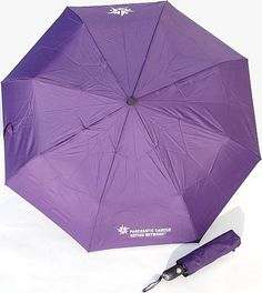 """Keep dry from the rain or shade yourself from the sun with this Arc Telescopic folding automatic open and close #umbrella. Two panels, opposite one another, are screened with the Pancreatic Cancer Action Network logo and the star logo. Comes with a matching color protective sleeve. Made with a metal shaft and a matching color handle. Measures 42""""."""
