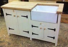 A Rustic Pine Freestanding Kitchen Belfast Butler Sink Unit Oak Top Utility  Room