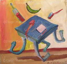 """ mesa bailando "", acrylic on canvas, 21 x 22 cm. , 2001 Price of original painting us$ 200"