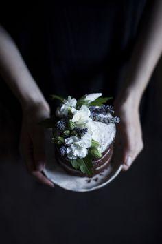 gluten free coconut lavender dark chocolate cake