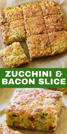 This quick, easy and healthy Zucchini and Bacon Slice is so versatile. Meal prep a batch for the week and use it for breakfast, lunch or dinner! This zucchini slice with bacon is great served hot or cold, so you can also pop it into kids lunch boxes. Zuchinni Recipes, Vegetable Recipes, Breakfast Recipes With Zucchini, Courgette Recipe Healthy, Healthy Zucchini Slice, Zuchinni Slice, Lunch Box Recipes, Brunch Recipes, Kebabs