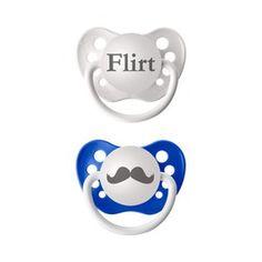 Ulubulu Blue Paci Flirt/Mustache(2pk)
