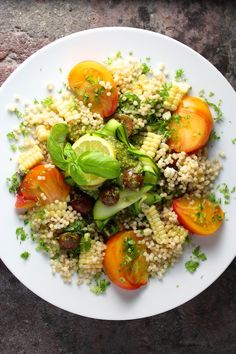 Hello Summer Salad ~ Israeli Couscous, Corn, Heirloom Tomato, Zucchini, Jalapeño, Chunky Lemon Basil Dressing #SummerFest