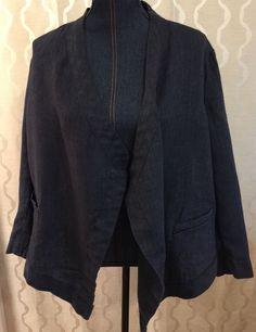 Coldwater Creek Blue Linen Open Jacket Lagenlook Size Large Petite (PL) 14-16 #ColdwaterCreek #BasicJacket