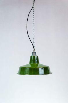 grüne Küchenlampe (Emaille)