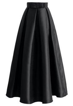 Bowknot Pleated Full Maxi Skirt in Black - Retro, Indie and Unique Fashion