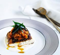 Spiced barramundi with tomato chilli pickle- simmer vinegar and mustard seeds in a saucepan over low heat until liquid is almost completely reduced. Chef Recipes, Fish Recipes, Seafood Recipes, Indian Food Recipes, Cooking Recipes, Gourmet Cooking, Recipies, Chilli Pickle Recipe, Most Popular Recipes