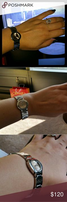 Fendi Watch Fendi Watch. Working.  New battery installed.  I love it but never wear it! My wrist measures a little over 6 inches, so between 6 and 6.5. Enjoy. Fendi Jewelry