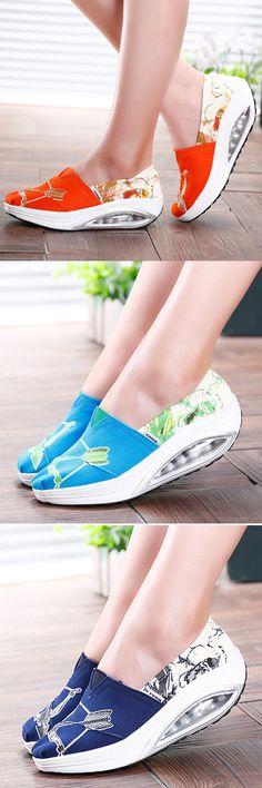 US$19.63 Pattern Color Blocking Canvas Platform Rocker Sole Shake Shoes