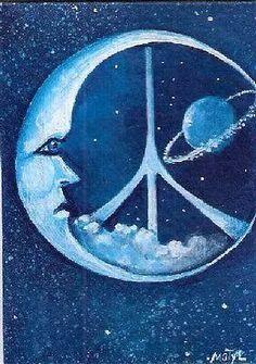 ☮ American Hippie Art ~ Peace Sign Moon