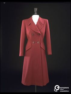 1942, autumn___ Coat. wool, plastic buttons. by Digby Morton, English.