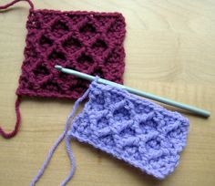 A tutorial on how to crochet the diamond trellis stitch using front post treble crochet stitches. ༺✿ƬⱤღ http://www.pinterest.com/teretegui/✿༻