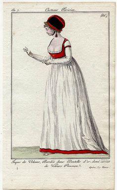 1798 from Journal des Dames et des Modes, Ceinture Croisée, Robe Overte sur le Côte - dress worn with crossed belt