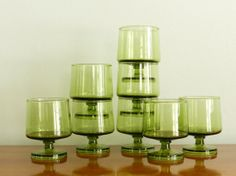 Vintage Cocktail Glasses Set of Eight Mid Century Barware Leafy Green Stackable Danish Mod Decor on Etsy, $72.00