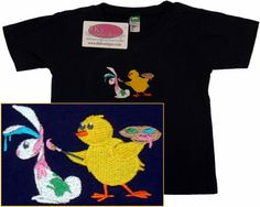Easter Chick Painting Bunny T-Shirt Baby by RK's Embroidery Boutique