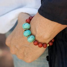 Bracelet Indi of Turquoise and Coral red, Boho, ethnic jewelry elastic bracelet…