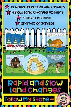 This resource is ideal for teaching and showing examples of rapid and slow land changes. This product rapid land change posters: avalanche blizzard drought earthquake flood hurricane landslide mudslide torn. Weather Lesson Plans, Weather Lessons, Learning Resources, Teaching Ideas, Teacher Tools, Matching Games, Science Lessons, Best Teacher, Graphic Organizers