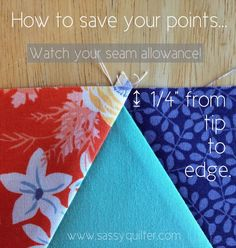 "You should be able to measure 1/4"" from fabric raw edges to the tip of your patchwork point"