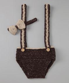Brown Crochet Suspenders Diaper Cover & Bow Tie