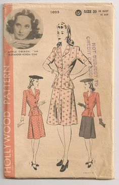 1940s Hollywood Sewing Pattern  Two Piece by RainbowValleyVintage, £25.00