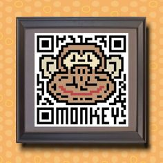 588 Monkey Asian zodiac animal as QR code by TwoBananasArt on Etsy, $20.00