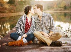 Fall lakeside engagement