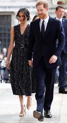 Prince Harry and his fiancee Meghan Markle arrive at a service at St Martin-in-The Fields ...