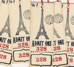 Eiffel Tower Ticket Tags 5 par woodandfabric sur Etsy