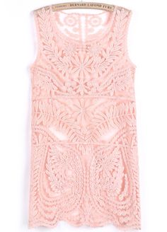 Loving this Pink Sleeveless Floral Crochet Lace Dress.