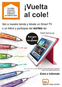 Llévate un Smart TV o un Móvil y participa del sorteo de una Tablet Samsung. #FelizLunes #vueltaalcole Smart Tv, Samsung, Signs, Digital, Frosting, Pageants, Happy Monday, Prize Draw, Shop Signs