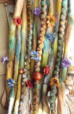 Flower Maiden Custom Order Tie-Dye Multi Color Wool Dreads with X-Cross Wrap & Beads Bohemian Hippie Dreadlocks Synthetic Boho Extensions. via Etsy.