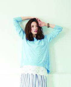 4way lace blouse & knit [aditional] ¥14,000 / Stripe long skirt [aditional] ¥14,000 / Wrap bracelet [CHAN LUU] ¥28,000