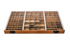 Nyomdász betűtartó doboz, nagy Cube, Shabby Chic, Tray, Boxes, Scrapbooking, Industrial, Rustic, Antiques, Vintage
