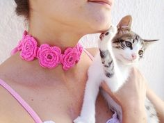 Pink crochet  flowered  headband with satin by ArtofAccessory, $20.00