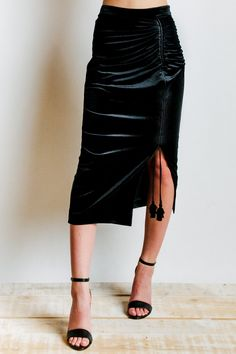 Rebecca Minkoff Romy Velvet Skirt in Black