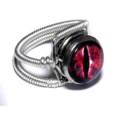 Steampunk Jewelry - RING - Red Evil Dragon Eye - Size 7.5 ONLY. $45.00, via Etsy.