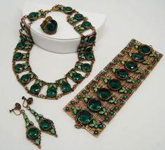 Art Deco Czech Emerald Parure