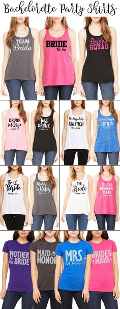HUGE selection of Bachelorette Party shirts! Glitter, solid & rhinestone…