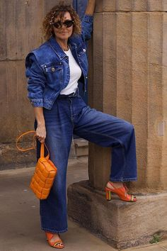 All the Coolest Spring Jackets Have One Thing in Common Star Fashion, Fashion Beauty, Moda Fashion, Accidental Icon, Linda Tol, Blazers, Leonie Hanne, Slouchy Pants, Orange Heels