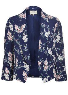 Floral Print Cropped Blazer - Matalan