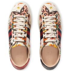 Gucci Garden Exclusive Ace Sneaker (€535) ❤ liked on Polyvore featuring shoes, sneakers, gucci, tenis, gucci trainers, print sneakers, print shoes, floral print sneakers and snake print sneakers