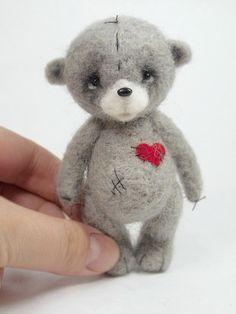 Collectible needle felted teddy bear Boheet . Artist Bear OOAK