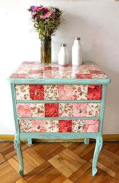 Love the colors! Paint & Decoupage scrapbooking paper to create a unique vintage piece Repurposed furniture ideas Decoupage Furniture, Repurposed Furniture, Furniture Projects, Furniture Makeover, Home Projects, Cool Furniture, Painted Furniture, Furniture Design, Decoupage Table