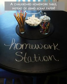 16 Great DIY Home Ideas | SnarkEcards I like the chalkboard table, the cups on pegboards, and the various reading nook ideas for possible classroom use.