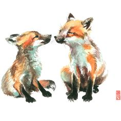 Kissing Foxes Watercolor Painting Fine Art Giclee Print Bird Painting... ($22) ❤ liked on Polyvore featuring home, home decor, wall art, animals, art, watercolor wall art, wildlife paintings, watercolor painting, watercolor bird paintings and giclee painting