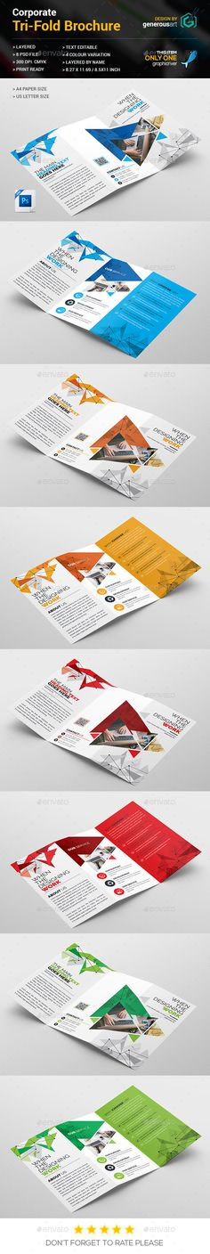 TriFold Brochure  — PSD Template #standard #blue • Download ➝ https://graphicriver.net/item/trifold-brochure/18218728?ref=pxcr